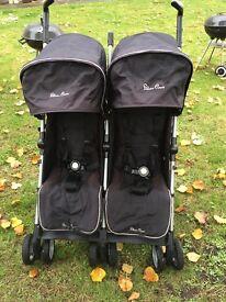 Double silver cross stroller