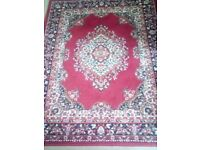 Red traditional pattern rug and two matching runners