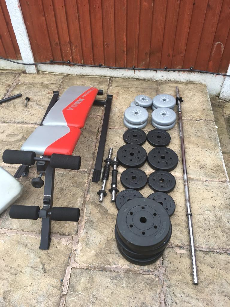 York Fitness Bench With Weights Set. Can deliver