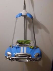 Baby Weavers Door Bouncer Blue Mini Cooper with Lights and Sounds