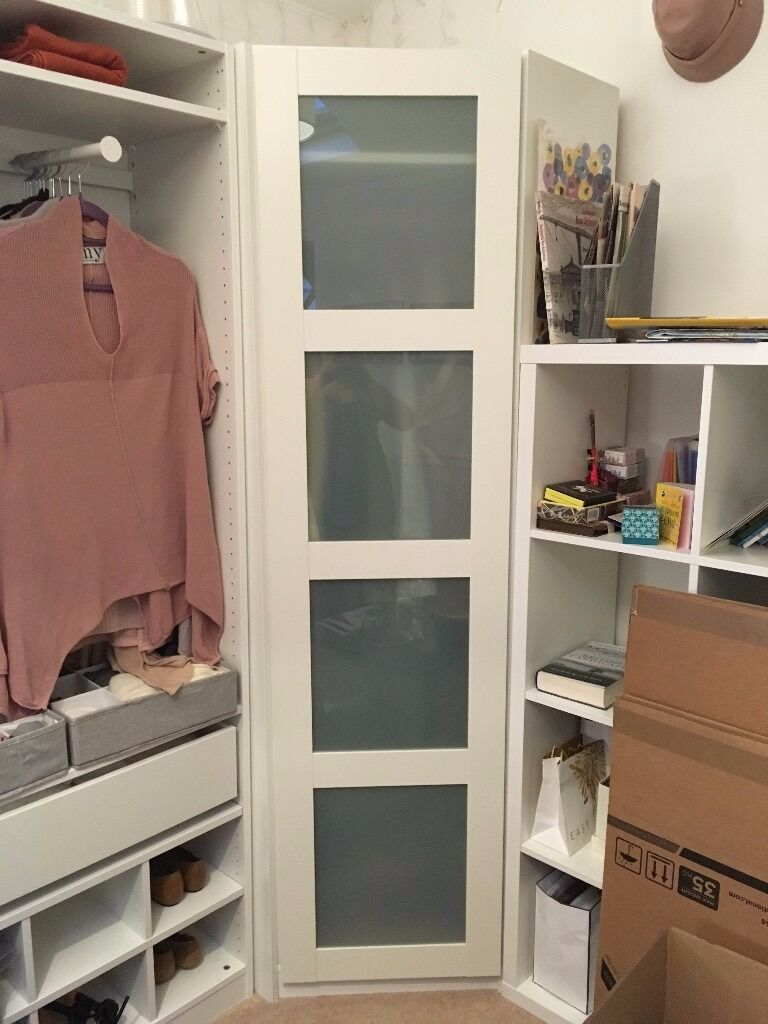 ikea white frosted glass wardrobe