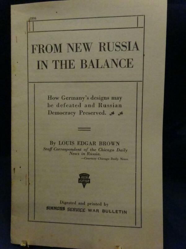 WWI Keen Kutter Simmons Service War Bulletin From New Russia In The Balance RARE
