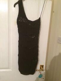 Black one-shoulder short dress, black cocktail dress