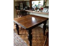 Antique Victorian dining table. Solid English oak.