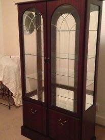 Mahogany & glass display cabinet