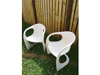 Pair of dwell chairs outdoor or indoor melamine