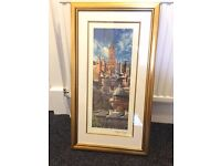 Glasgow rooftops photography print - gold frame