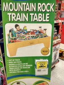 Mountain Rock Children's Toy Wooden Train Set & Table
