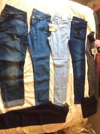 Four pairs jeans, x2 pair leggings, one pair waist shape leggings, size 16