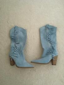 Blue suede cow boy style boots