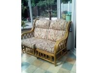 cane Conservatory suite sofa and two chairs