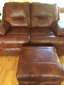 3 X 2 Chestnut Leather Reclining Sofas with Footstool