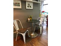 Metal Dining Chair Stackable Industrial Vintage Bistro Kitchen Garden Cafe Chair