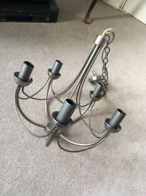 John Lewis Chrome & Brass Candelabra Light Fitting