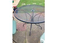 Vintage steel Garden table & 8 chairs with cushions