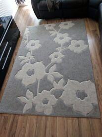 Large Grey Floral Rug