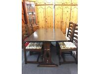 Oak Refectory table & 4 ladder back chairs.