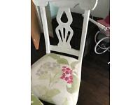 Very large 6/8/10 seater dining table upcycled shabby chic and chairs cushions and curtains job lot