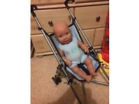 Dolls World baby boy & stroller