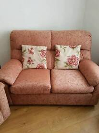 Parker knoll three piece suite with storage stool
