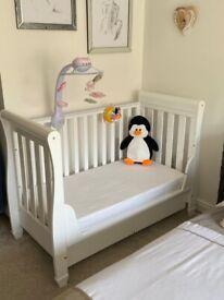 White Baby Sleigh Cot
