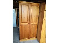 silod pine wardrobe with shelves and 2 hanging rails tongue and groove back