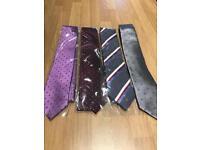 4 x Men's Ties - purple/ grey - all Patterned