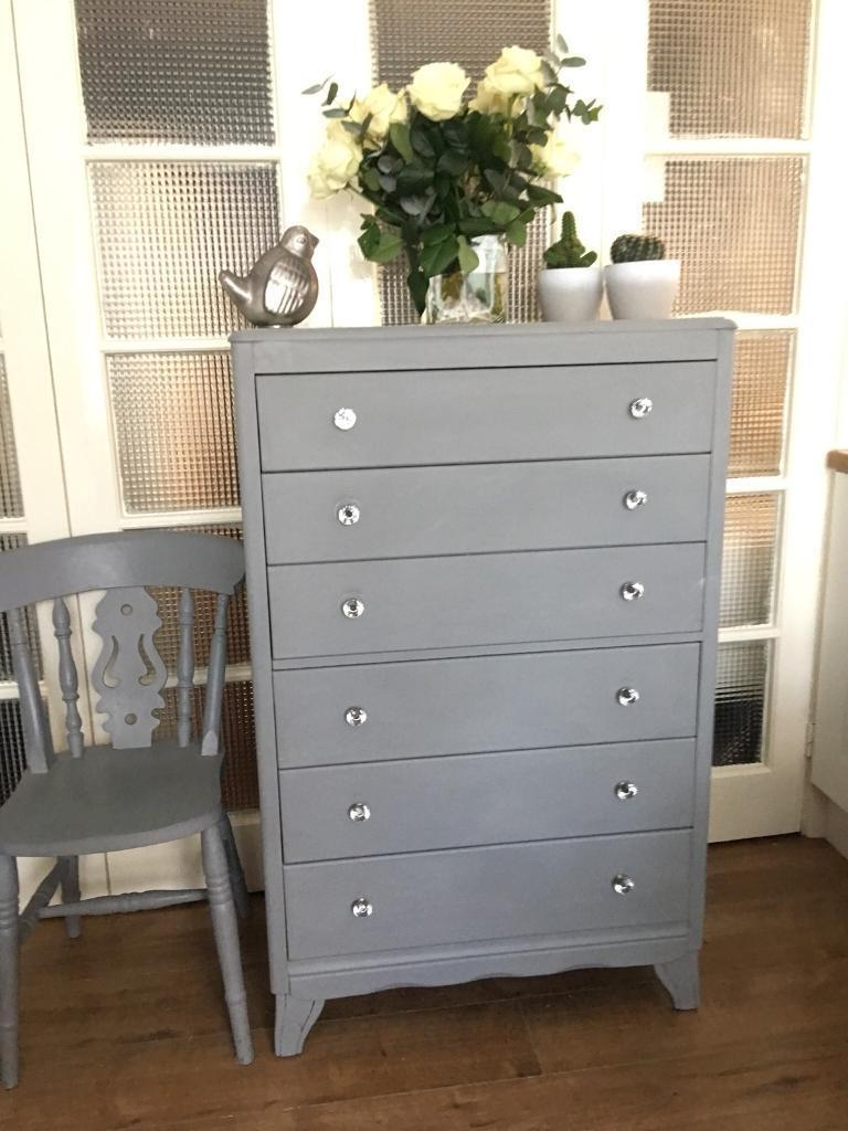 """""""Grey Paris"""" CHEST FREE DELIVERY LDN🇬🇧SHABBY chic tall boy"""