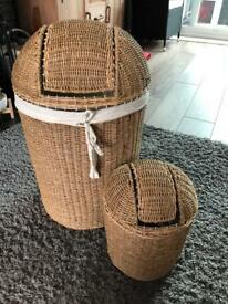 Wicker Linen Basket & Matching Bin