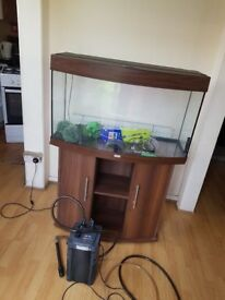 Juwel vision 180 litre fish tank and stand with external filter dark wood