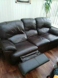 Lazyboy 3 and 1 seater leather recliner