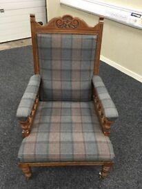 Stunning oak chair high back in grey tartan