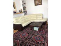 Genuine leather cream/dark brown corner sofa + swivel armchair
