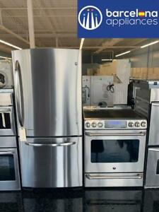 STAINLESS STEEL FRIDGE & STOVE PACKAGE GE HIGHER END MODELS