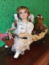 Very Pretty Porcelain Doll & Teddy on a Three Wheeler Trike