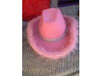 Pink girls dress up cowboy hat