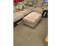 Corner Sofa, Gey with matching cushions and foot stall