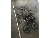 Bowlflex dumbbells and Olympic bar/Weights