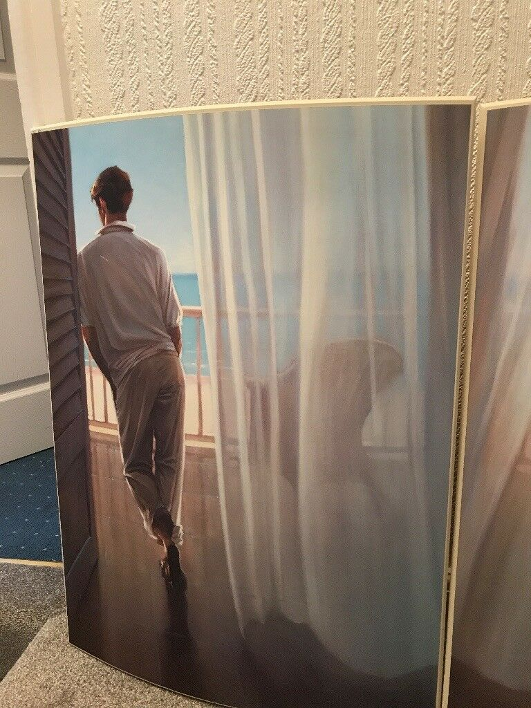 Jack vettriano pictures and a brown framed mirror