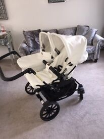 Like new Emmaljunga Double Viking Pram. White/cream leatherette.