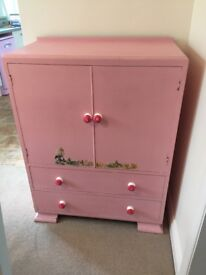 Cupboard and draws pink