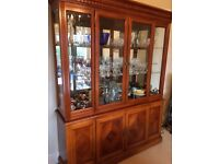 Traditional sideboard with glass backed display cabinet