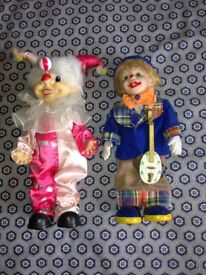 2 Musical Clown Dolls and a Musical Dutch Doll