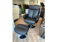 Ex Display - Leather Swivel Recliner Chair Black