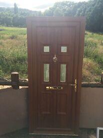Golden oak upvc front door