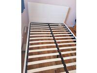 Mendelssohn white leather double bed frame