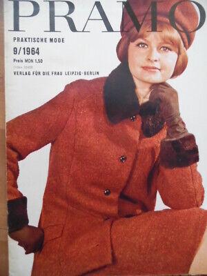 PRAMO 9 - 1964 (1) Praktische Mode DDR + Schnittmusterbogen Kostüm Mantel Kleid