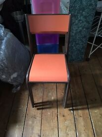 orange and brown 60/70's plastic chairs x 3