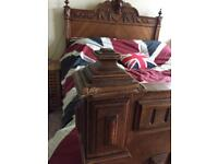 Antique French hard wood bed.