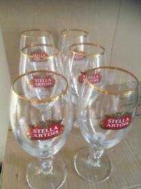 6 Brand New Stella Artois Chalice Pint Glasses